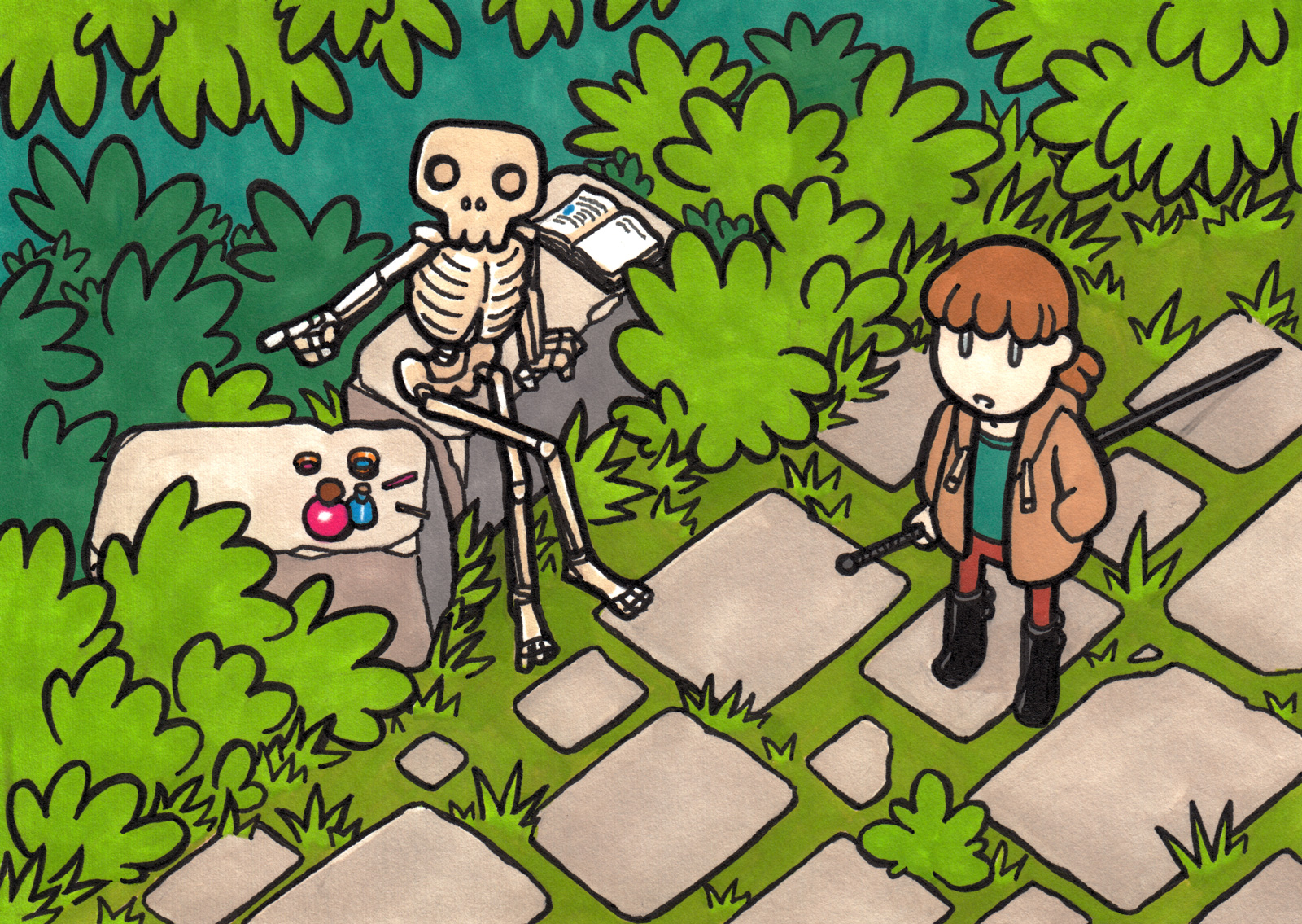 On an overgrown stone path, a friendly skeleton sets its journal aside and points the way.